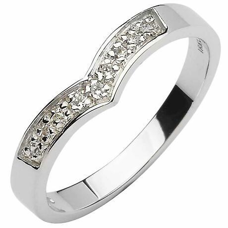 Irish Wedding Band - 10k  White Gold Diamond Ladies Wishbone Ring
