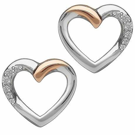 Irish Earrings | Real Irish Gold & Sterling Silver Heart Earrings by House of Lor