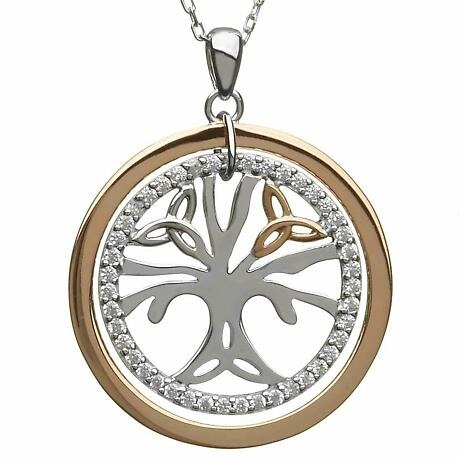 Irish Necklace | Real Irish Gold & Sterling Silver Celtic Tree of Life Pendant by House of Lor