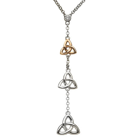 Irish Necklace | Real Irish Gold & Sterling Silver Celtic Trinity Knot Trio by House of Lor