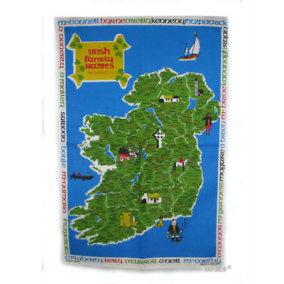 Irish Family Names Tea Towel