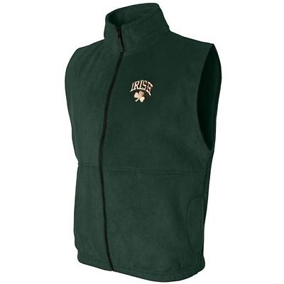 Irish Forest Green Shamrock Embroidered Fleece Vest