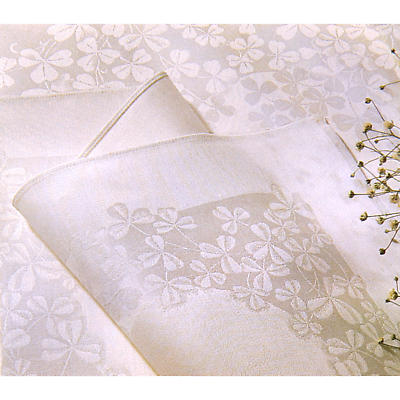 Irish Linen Tablecloth - 54 inch x 72 inch 100% Linen Damask Irish Tablecloth