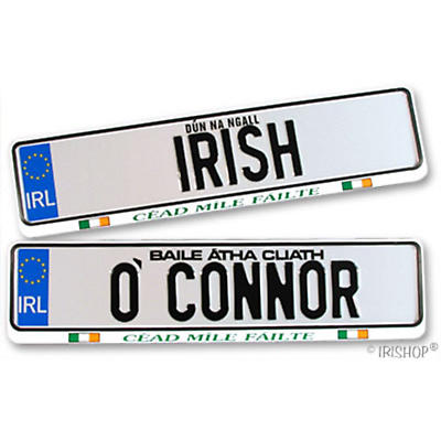 Personalized Irish License Plates