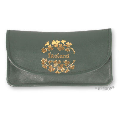 Green Leather Two Zip Purse - Ireland and Shamrocks