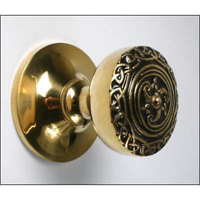 Celtic Central Brass Door Knob - Medium