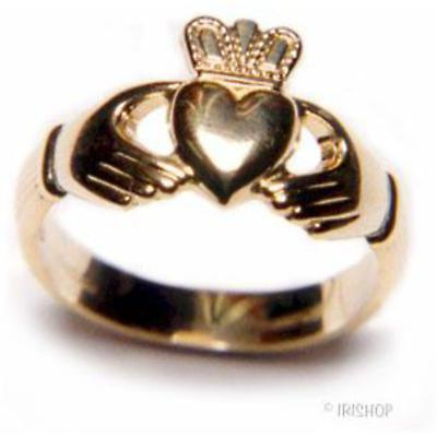 Claddagh Ring - Men's 10k Gold Puffed Heart