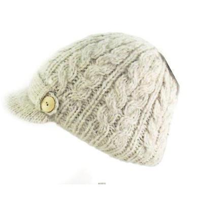 Irish Hat - Wool Aran Ladies Irish Hat with Peak - Oatmeal