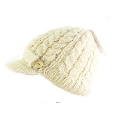 Irish Hat - Wool Aran Ladies Irish Hat with Peak - White
