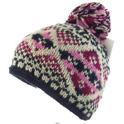 Irish Hat -  Wool Ladies Bobble Hat Blue Pink