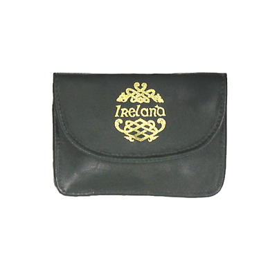 Green Leather Back Zip Purse - Ireland and Celtic Dragon