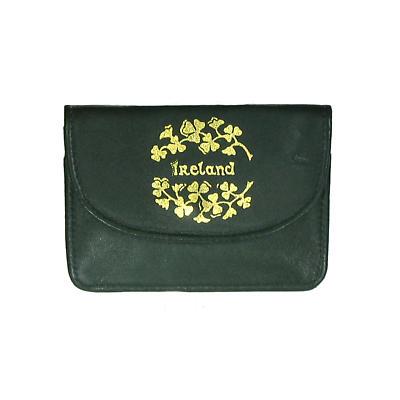 Green Leather Back Zip Purse - Ireland and Shamrocks