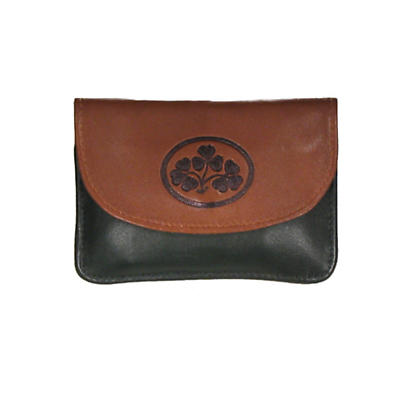 Two Tone Leather Back Zip Purse - Shamrock Spray