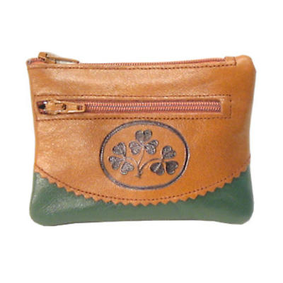 Two Tone Leather 3 Zip Purse - Shamrock Spray