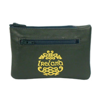Green Leather 3 Zip Purse - Ireland and Celtic Dragon