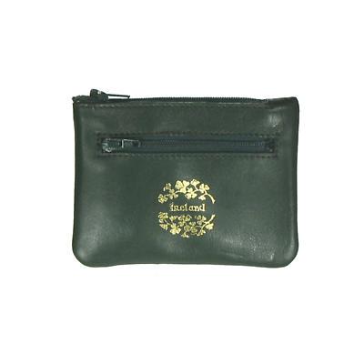 Green Leather 3 Zip Purse - Ireland and Shamrocks