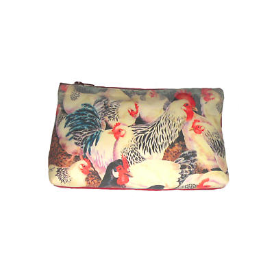 Leather Cosmetic Bag - White Hens