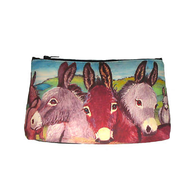 Leather Cosmetic Bag - Donkeys