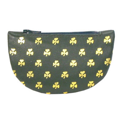 Green Leather Half Moon Purse - All Over Shamrocks
