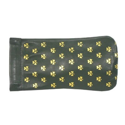 Green Leather Snap Spectacle Case - All Over Shamrocks