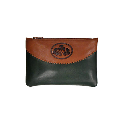 Two Tone Leather Top Zip Purse - Shamrock Spray