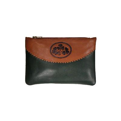 Two Tone Leather Top Zip Purse - Shamrock Spray