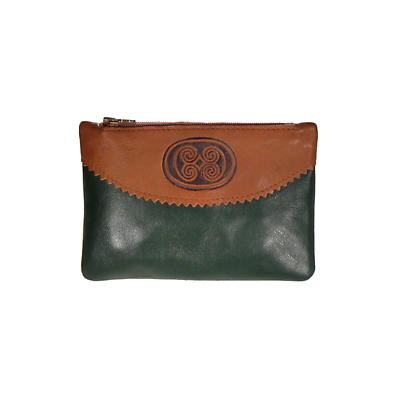 Two Tone Leather Top Zip Purse - Celtic Spirals