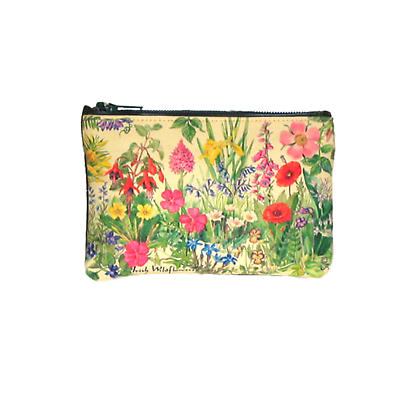 Leather Top Zip Purse - Wildflowers