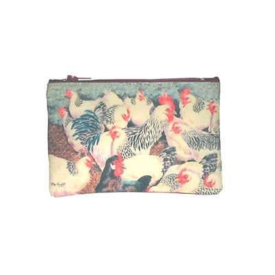 Leather Top Zip Purse - White Hens