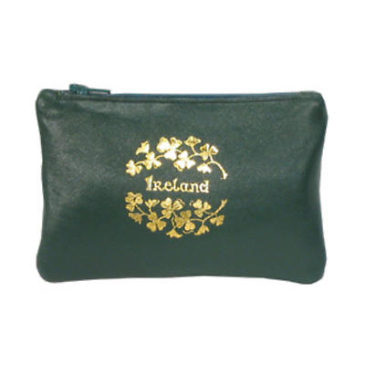 Green Leather Top Zip Purse - Ireland and Shamrocks