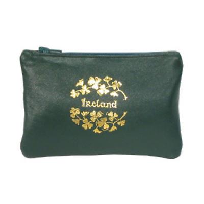 Green Leather Top Zip Purse - Ireland and Shamrocks