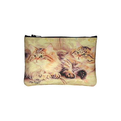 Leather Top Zip Purse - Cats