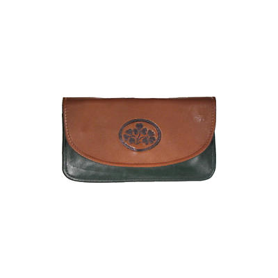 Two Tone Leather Two Zip Compartment Purse - Shamrock Spray