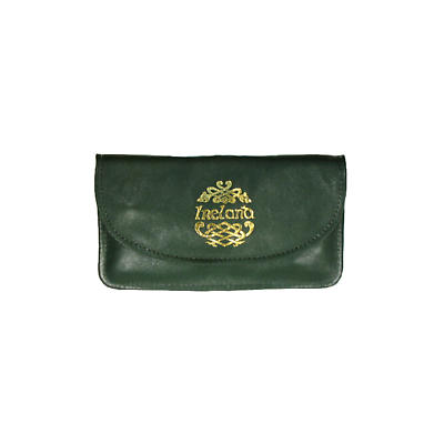 Green Leather Two Zip Compartment Purse - Ireland and Celtic Dragon
