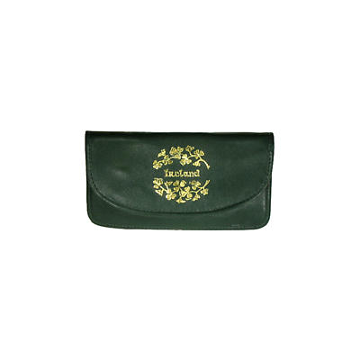 Green Leather Two Zip Compartment Purse - Ireland and Shamrocks