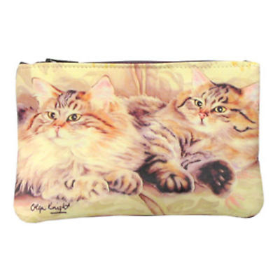 Leather Small Top Zip Purse - Cats