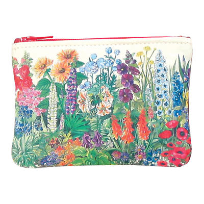 Leather Small Top Zip Purse - Summer Flowers