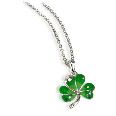 Irish Necklace - Rhodium Plated Green Enamel and Crystal Shamrock Pendant with Chain