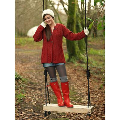 Wool Cardigan Sweater - Ladies Merino Wool A-Line Aran Cardigan