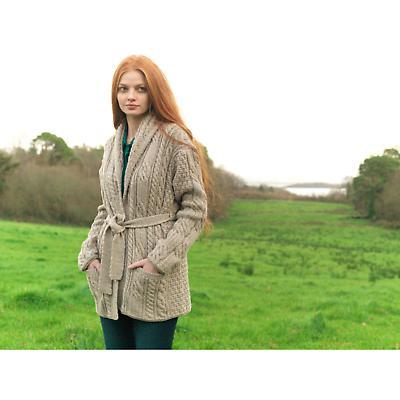 Wool Cardigan Sweater - Ladies Merino Wool Aran Belted Cardigan with Shawl Collar
