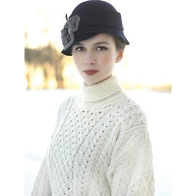 Irish Wool Sweater - Ladies Merino Wool Traditional Aran Polo Neck Sweater