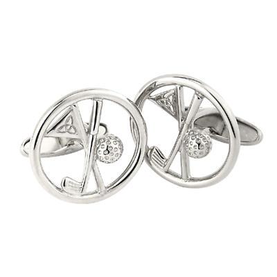 Irish Golf Cufflinks - Sterling Silver Cufflinks with Trinity Knot Flag and Golf Club Design