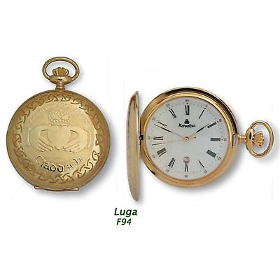 Luga - Gold Plated Full Hunter Pocket Watch on a chain