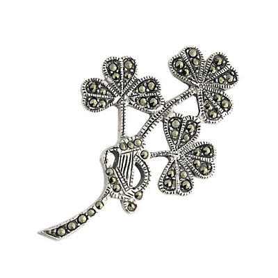 Sterling Silver Marcasite Shamrock Spray Brooch