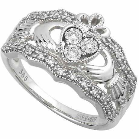 Claddagh Ring - 14k White Gold Diamond Ladies Irish Claddagh Band
