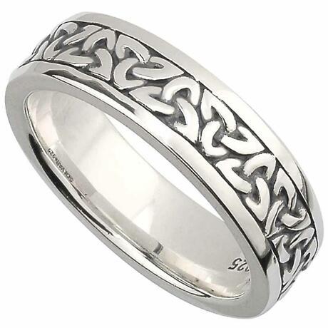 Irish Wedding Band -  Sterling Silver Ladies Celtic Trinity Knot Ring