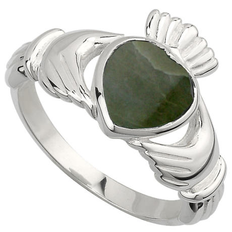 Claddagh Ring - Stering Silver Connemara Marble Heart Irish Claddagh Ring