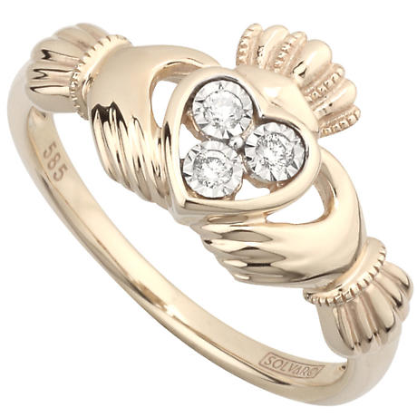 Claddagh Ring - Ladies Irish Claddagh Ring 14k Yellow Gold with 3 Diamonds