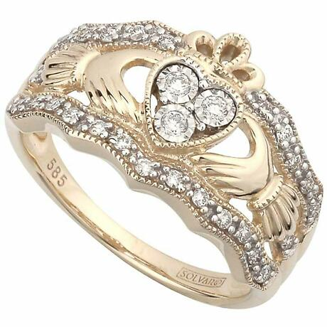 Claddagh Ring - 14k Yellow Gold Diamond Ladies Irish Claddagh Band