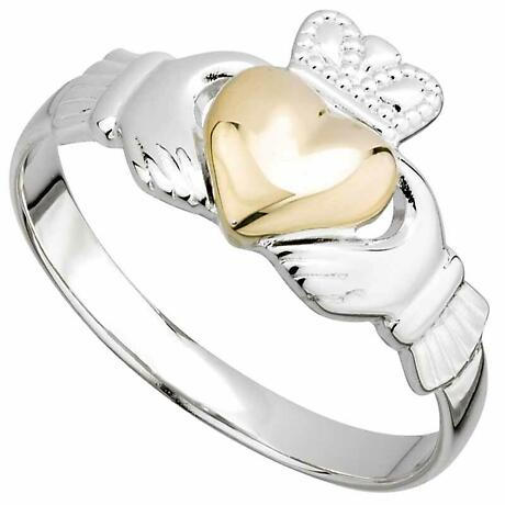 Ladies Sterling Silver and 10k Gold Heart Claddagh Ring